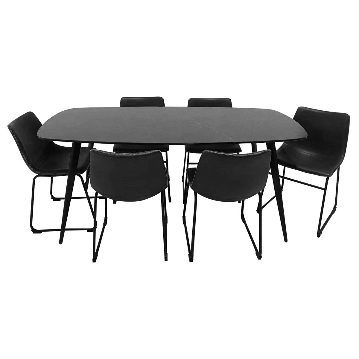 Jupiter 7 Piece Marble Topped Metal Dining Table Set, 180cm, with Perry Chair