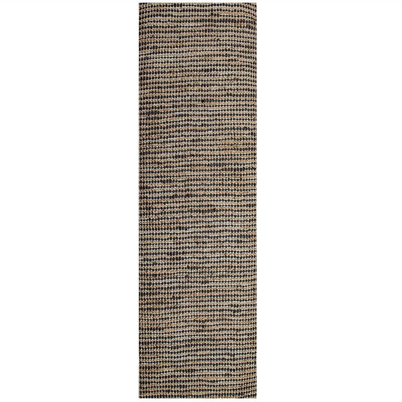 Iris 75x360cm Jute and Cotton Runner Rug - Charcoal