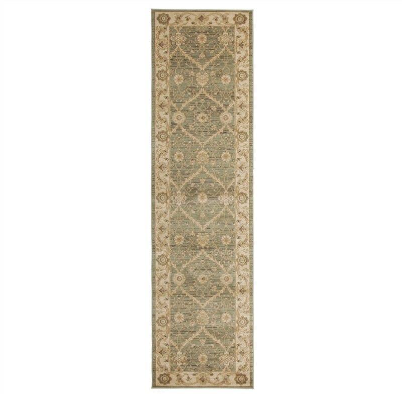 Jewel Chobi Turkish Made Oriental Runner Rug, 400x80cm, Green