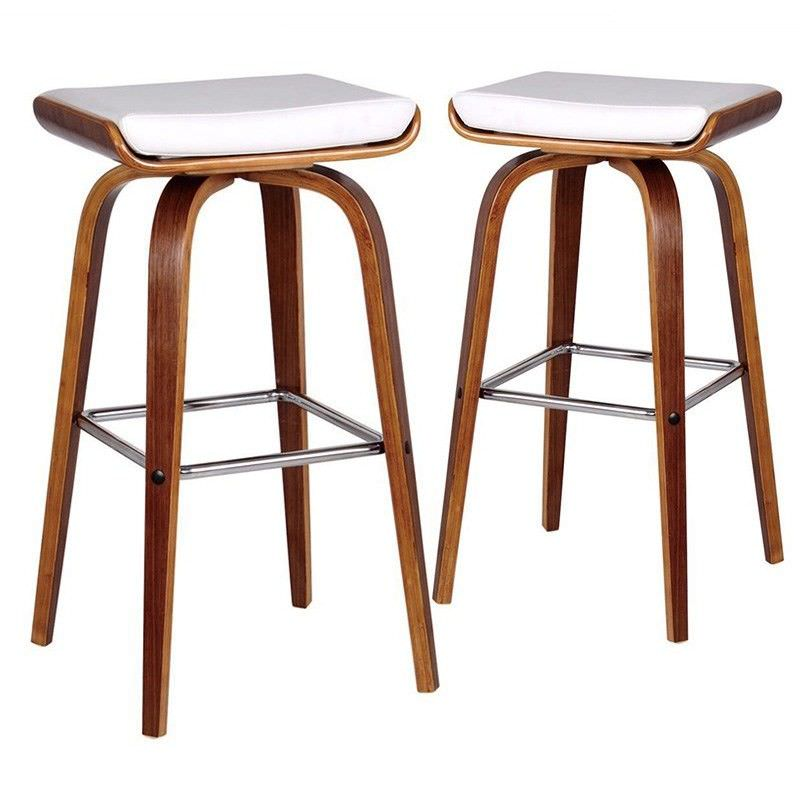 Set of 2 Lucca PU Leather and Timber Barstool - White