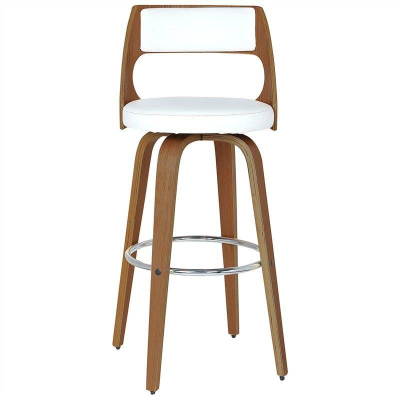 Brakel Wooden Swivel Bar Chair with PU Seat, White / Walnut