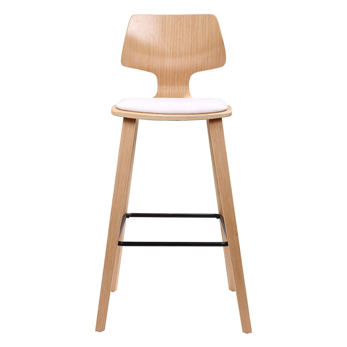 Hourglass Wooden Counter Stool with PU Seat
