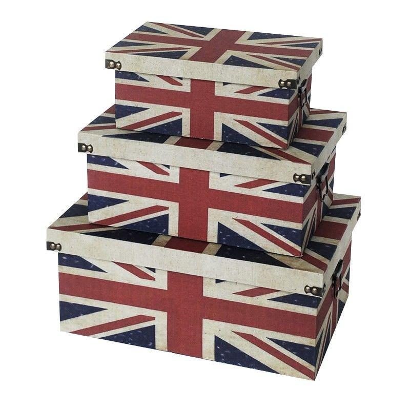 Set of 3 British Flag Treasure Box