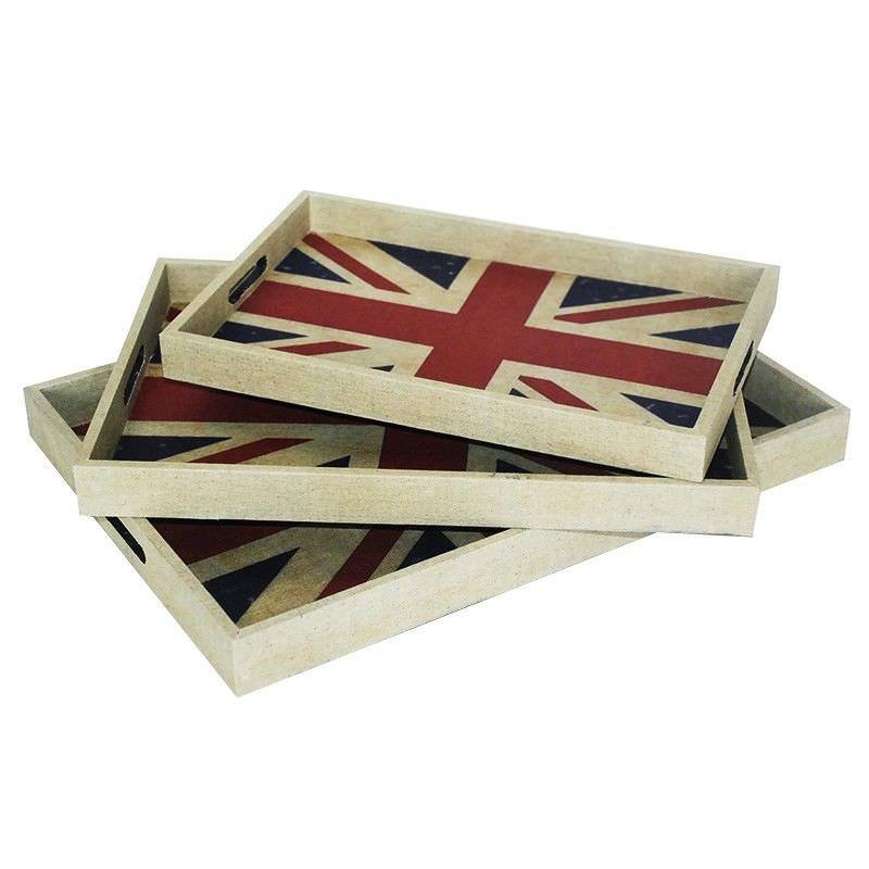 Set of 3 British Flag Tray