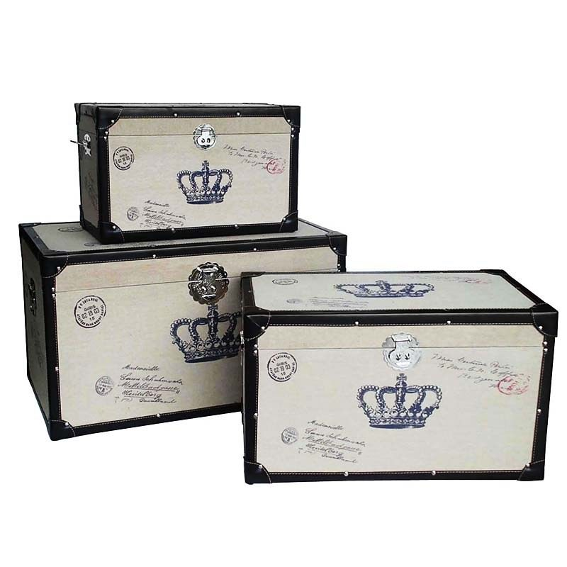 Set of 3 Trunk Boxes Crown