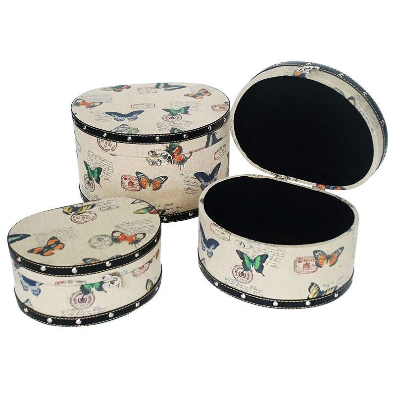 Set of 3 Butterfly Half Round Treasure Box