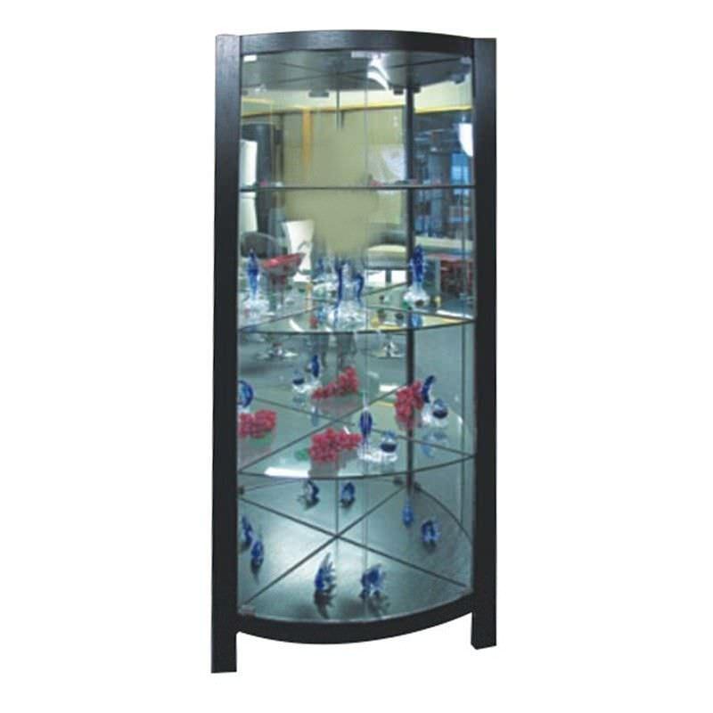 Xanthe Corner Display Unit with LED Lights - Black
