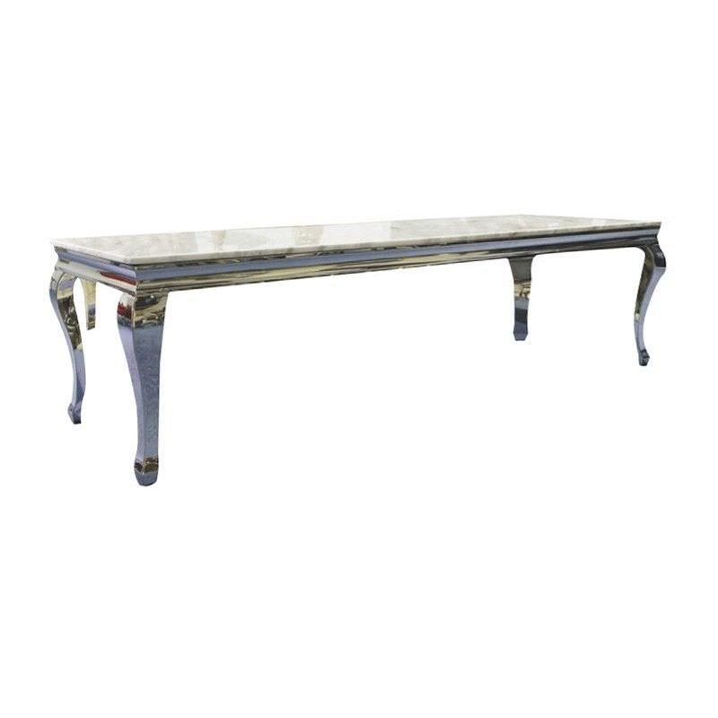 Vista Granite Top Stainless Steel 180cm TV Unit - White/Silver