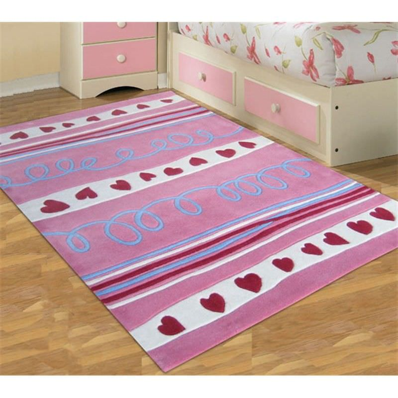 Hearts and Stripes Kids Rug in Pink - 165x115cm