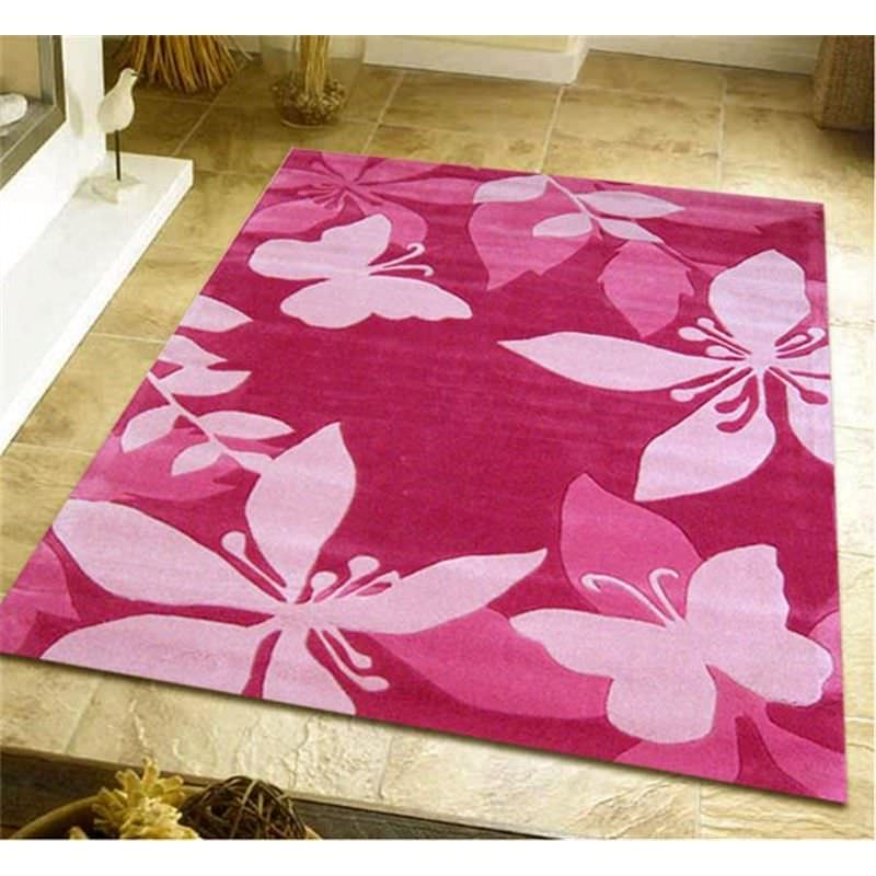 Cute Pink Flower and Butterfly Design Kids Rug - 220x150cm