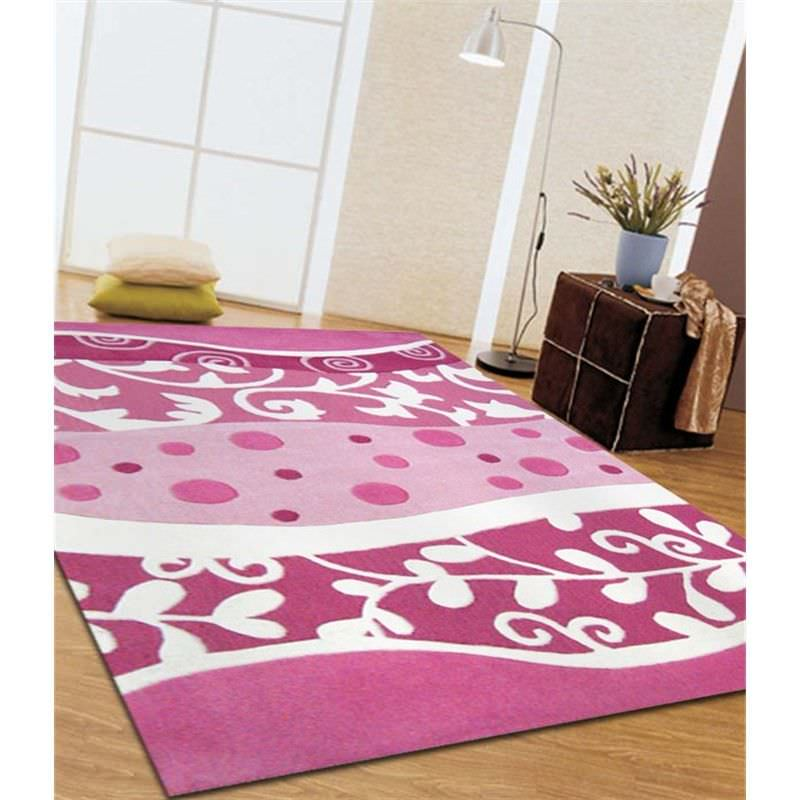 Stunning Pink and White Design Kids Rug - 220x150cm
