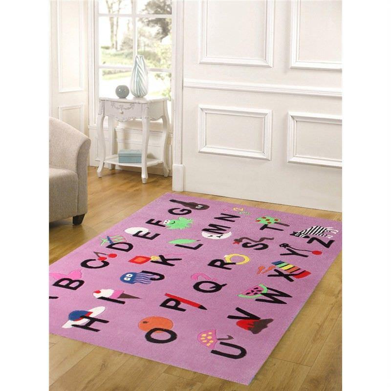Cool Alphabet Kids Rug in Pink - 165x115cm