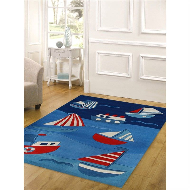 Cool Ships and Boats Kids Rug in Blue - 220x150cm