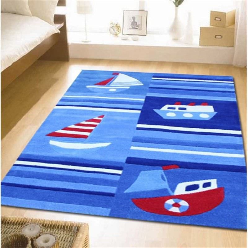 Super Fun Ships and Boats Kids Rug in Blue - 165x115cm