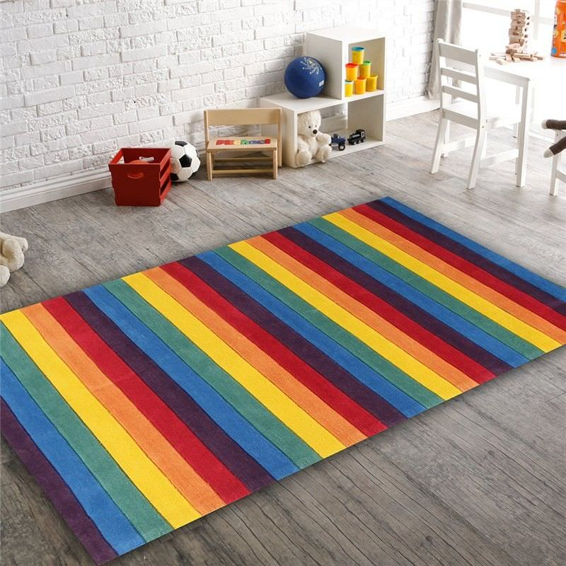 Beautiful Stripped Rainbow Kids Rug - 165x115cm