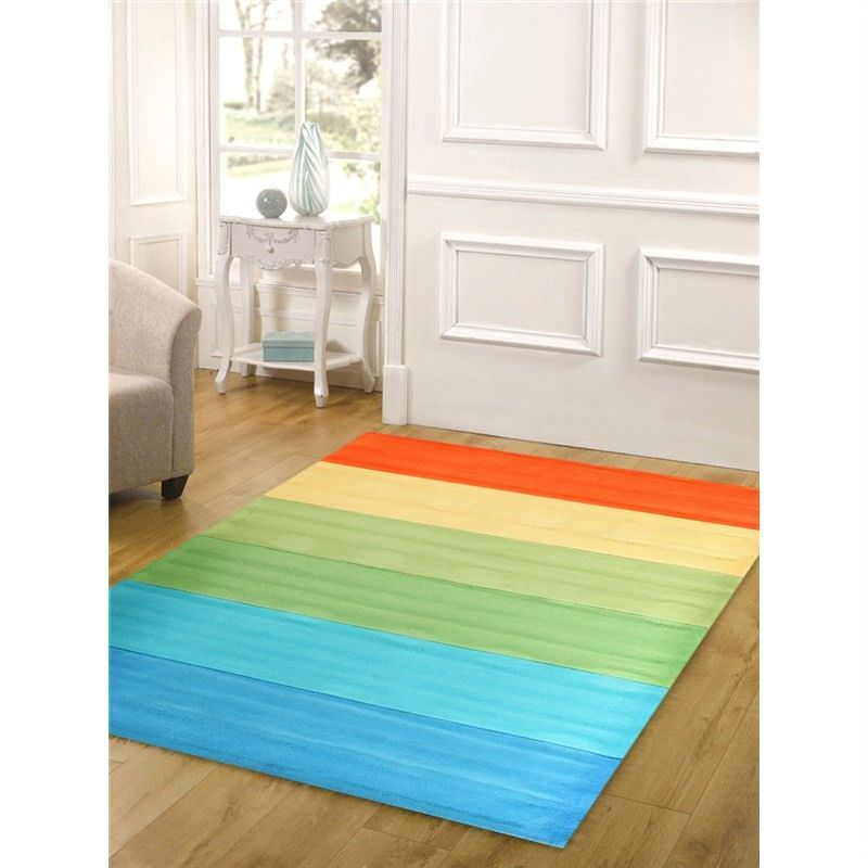 Rainbow Kids Rug in Green and Blue - 165x115cm