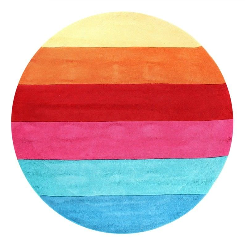 Round Rainbow Kids Rug in Pink and Red - 150x150cm