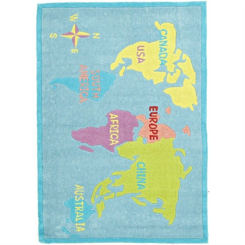 Map kids rug in pale blue 165x115cm world map kids rug in pale blue 165x115cm gumiabroncs Image collections