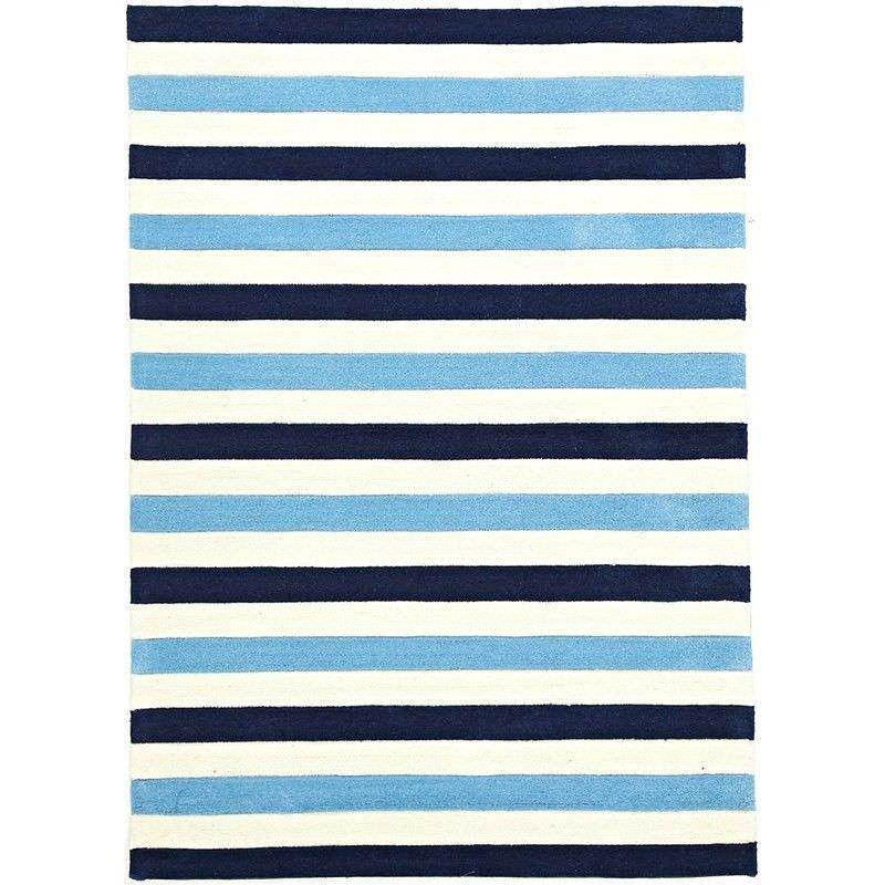 Nautical Stripes Kids Rug in Blue - 220x150cm