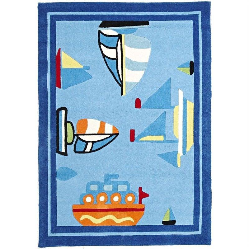 Boats & Ships Kids Rug in Blue - 165x115cm