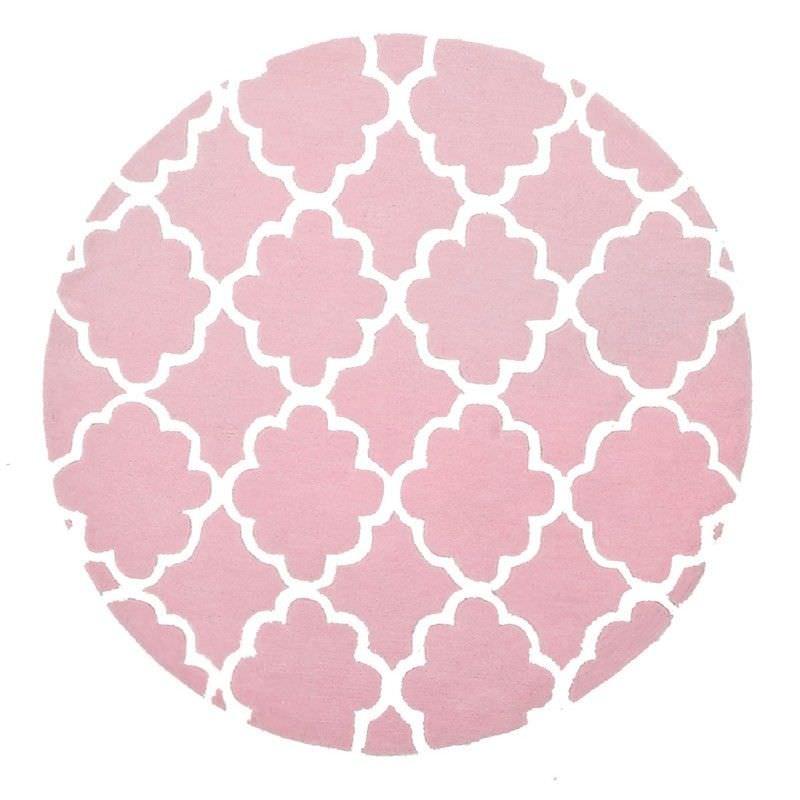 Trellis Design Round Kid Rug in Pale Pink - 120x120cm