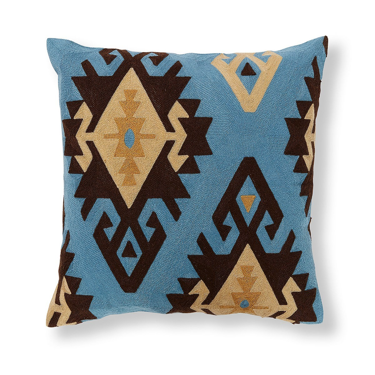 Aztec Embroidered Fabric Scatter Cushion Cover, Blue