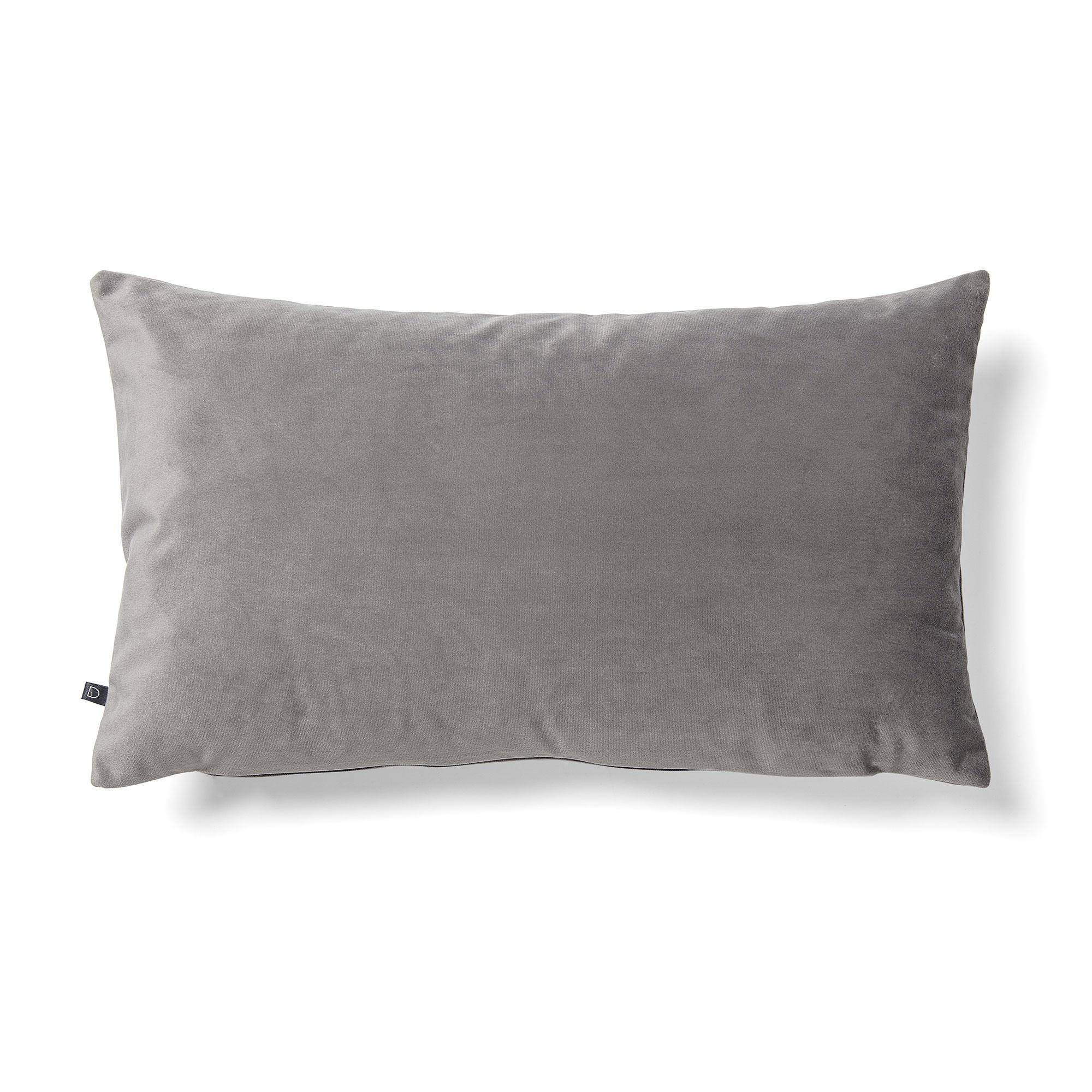 Daraya Velvet Fabric Lumbar Cushion, Grey