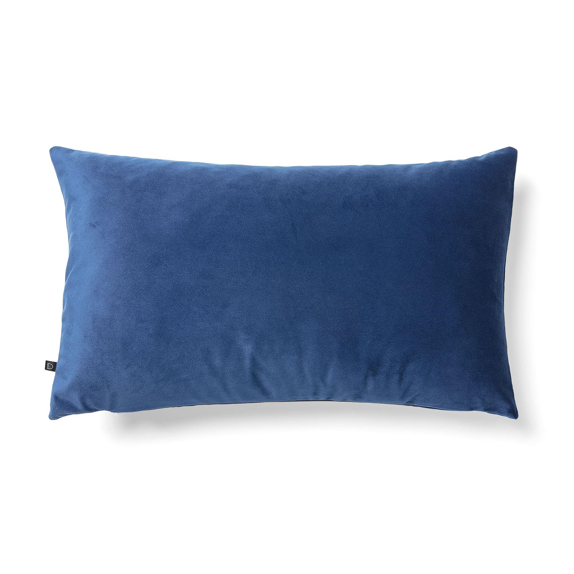 Daraya Velvet Fabric Lumbar Cushion, Blue