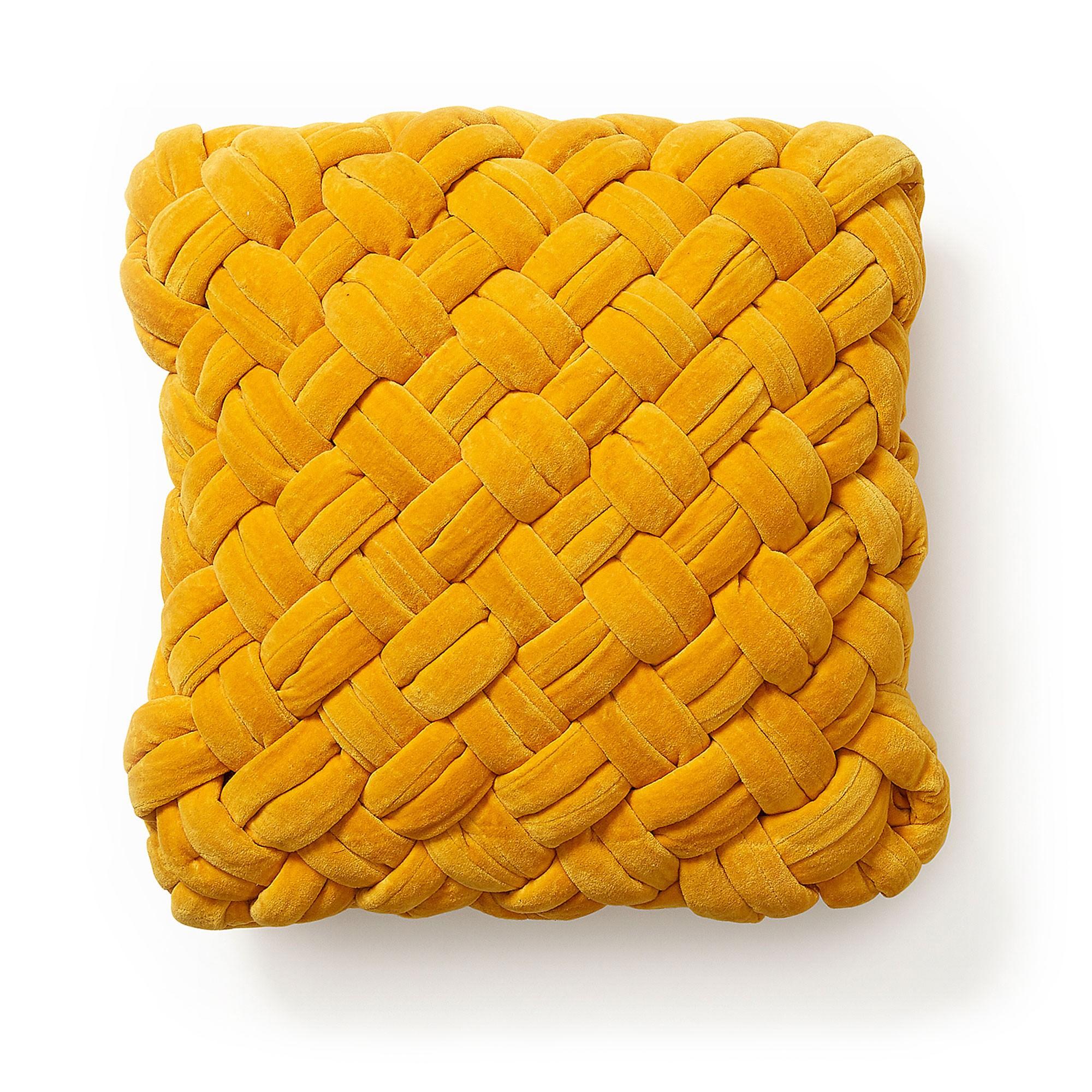 Emilija Braided Cotton Velvet Scatter Cushion, Mustard