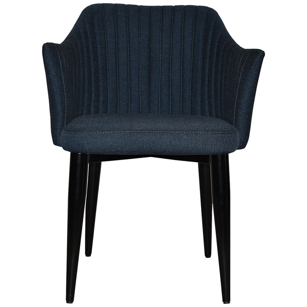Coogee Commercial Grade Gravity Fabric Dining Armchair, Metal Leg, Navy / Black