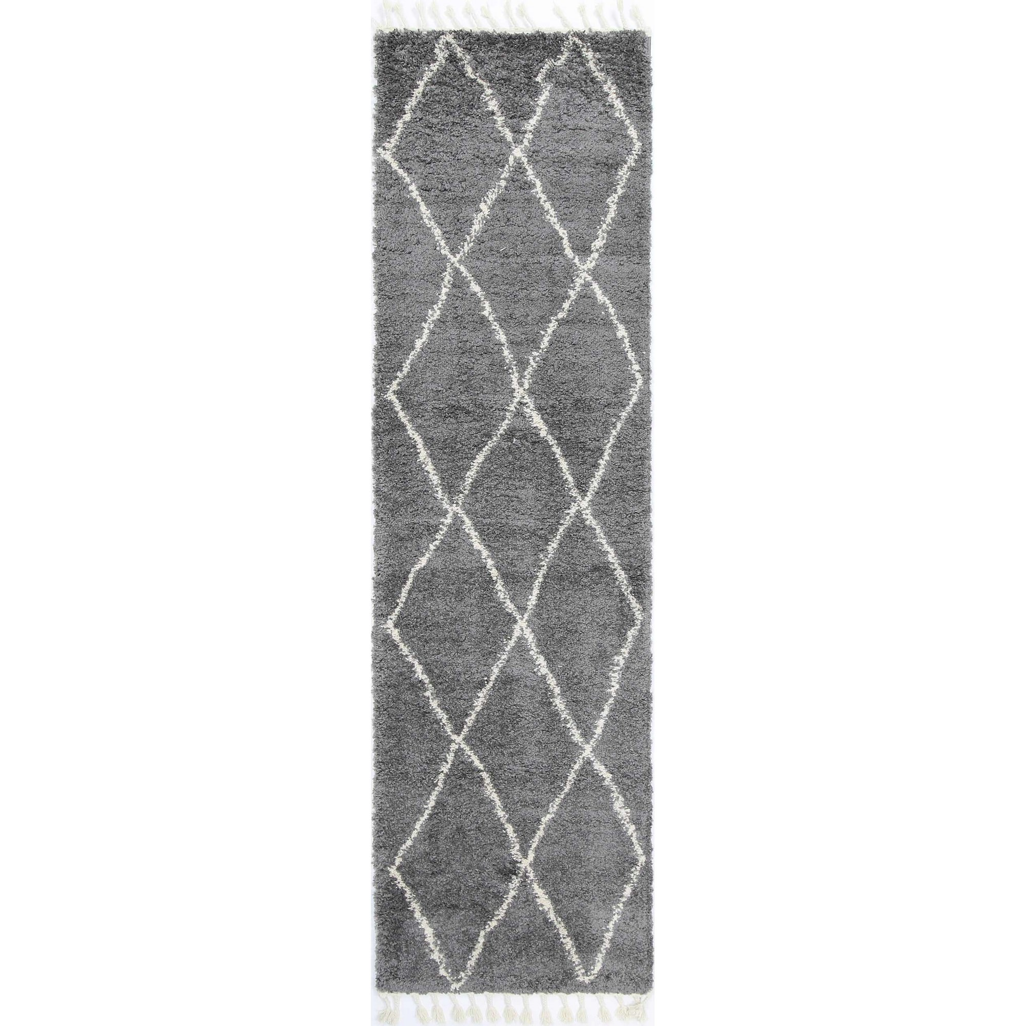 Kasper Diamond Modern Runner Rug, 300x80cm, Grey