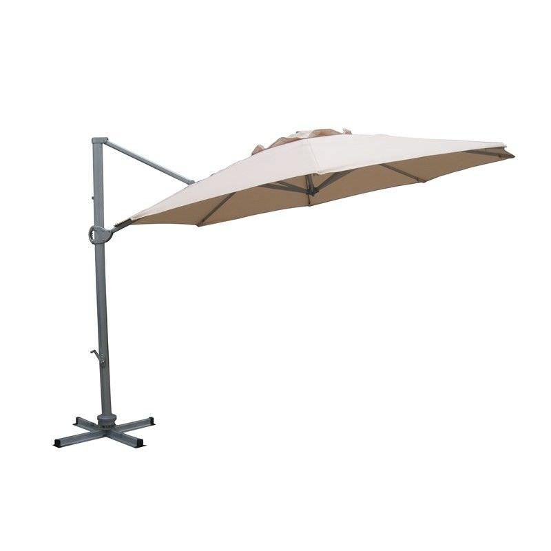 Aluminium Waterproof Cantilever Outdoor Round Umbrella Beige diameter 3.5M