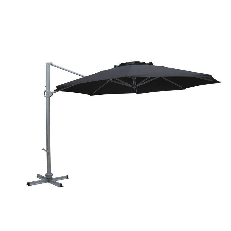 Aluminium Waterproof Cantilever Outdoor Round Umbrella Black diameter 3.5M