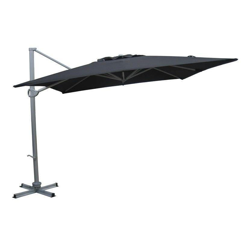 Aluminium Waterproof Cantilever Outdoor Square Umbrella Black 3X3M