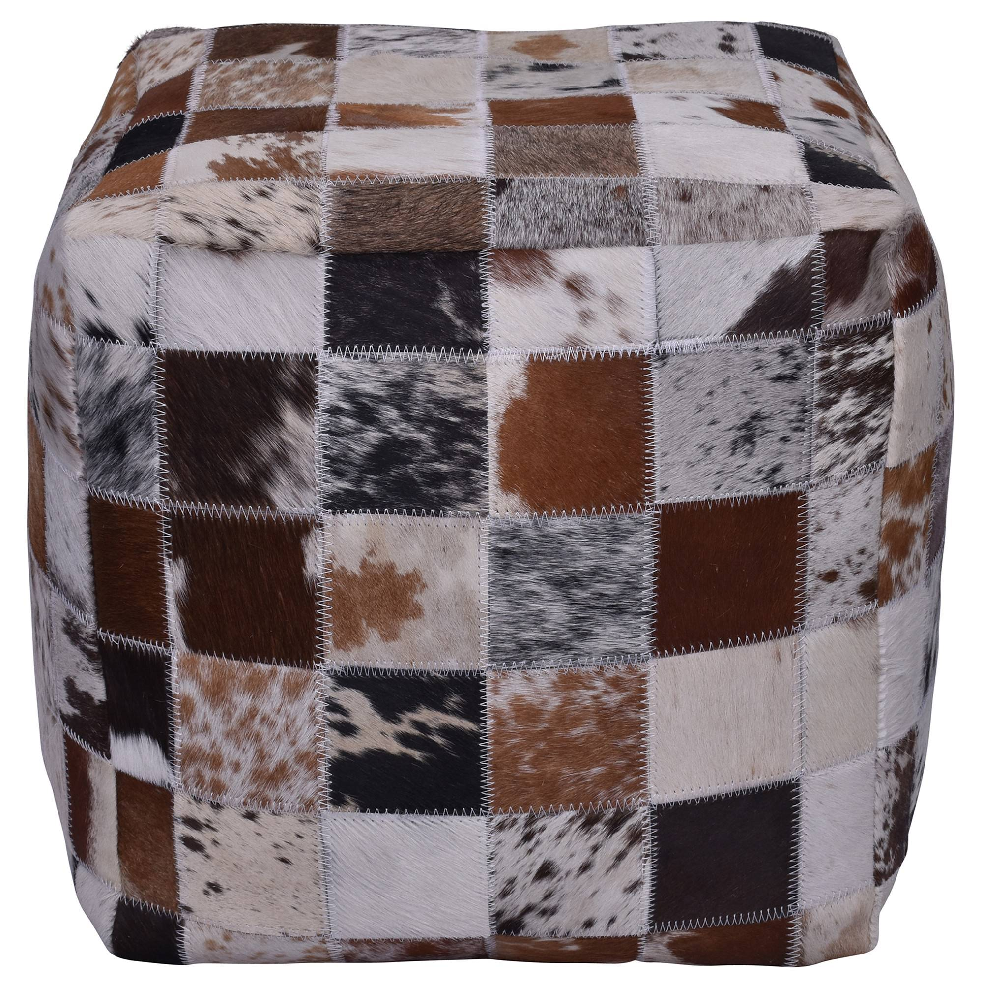 Morley Cowhide Patchwork Square Pouf