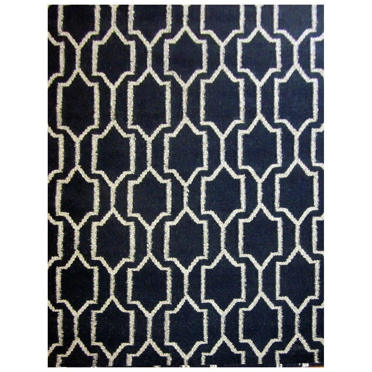 Mundoo Handwoven Wool Dhurrie Rug, 160x110cm, Black