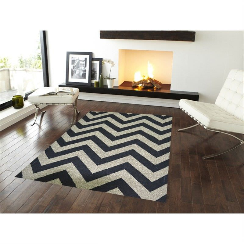 Moderno Flat Weave Wool Rug in Black/Natural - 110x160cm