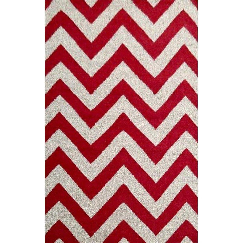 Moderno Designer Flat Weave Wool Rug in Red/Natural - 160x230