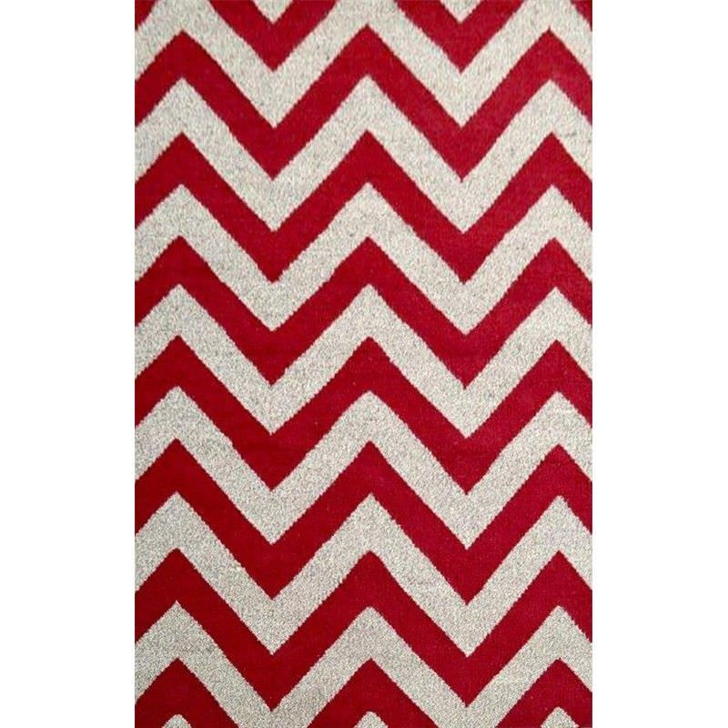 Moderno Designer Flat Weave Wool Rug in Red/Natural - 190x280