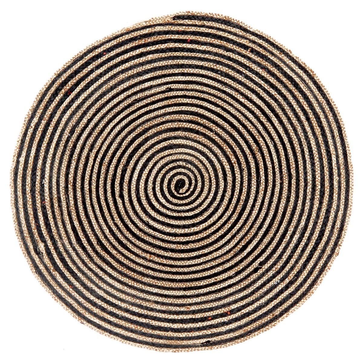 Kerla Swirl Handmade Round Jute & Cotton Rug, 120cm, Natural / Black