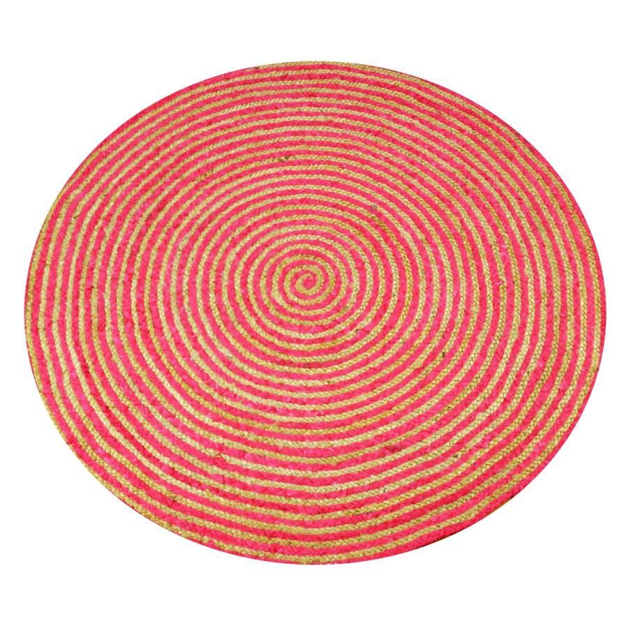 Chirala Handwoven Cotton & Jute Round Rug, 120cm, Magenta