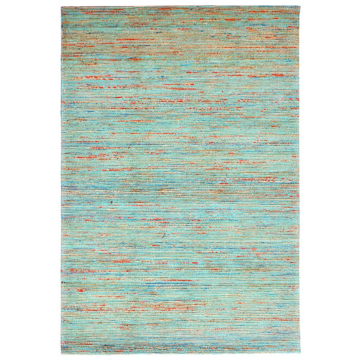 Kerla Horizon Handwoven Silk & Jute Rug, 160x110cm, Natural / Aqua