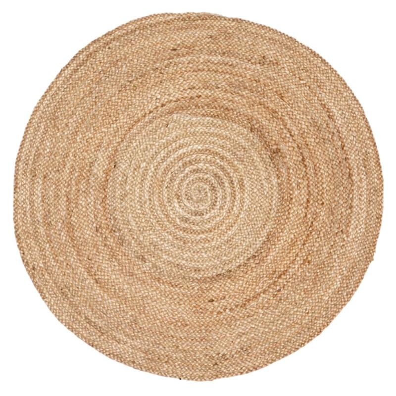Kerla Plain Handmade Round Jute Rug, 100cm, Natural