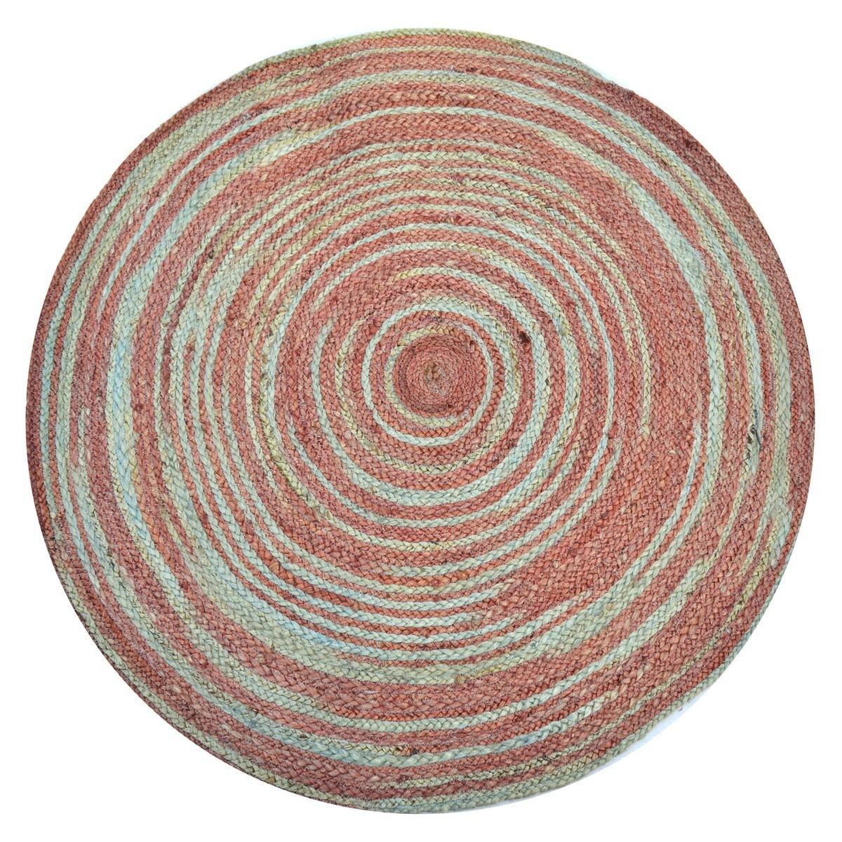 Kerla Spiral Handwoven Round Jute Rug, 100cm, Aqua / Rose