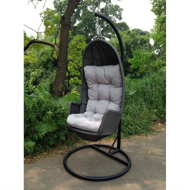 Aluminum Wicker Hanging Chair with Cushion in Grey with Grey Cushion