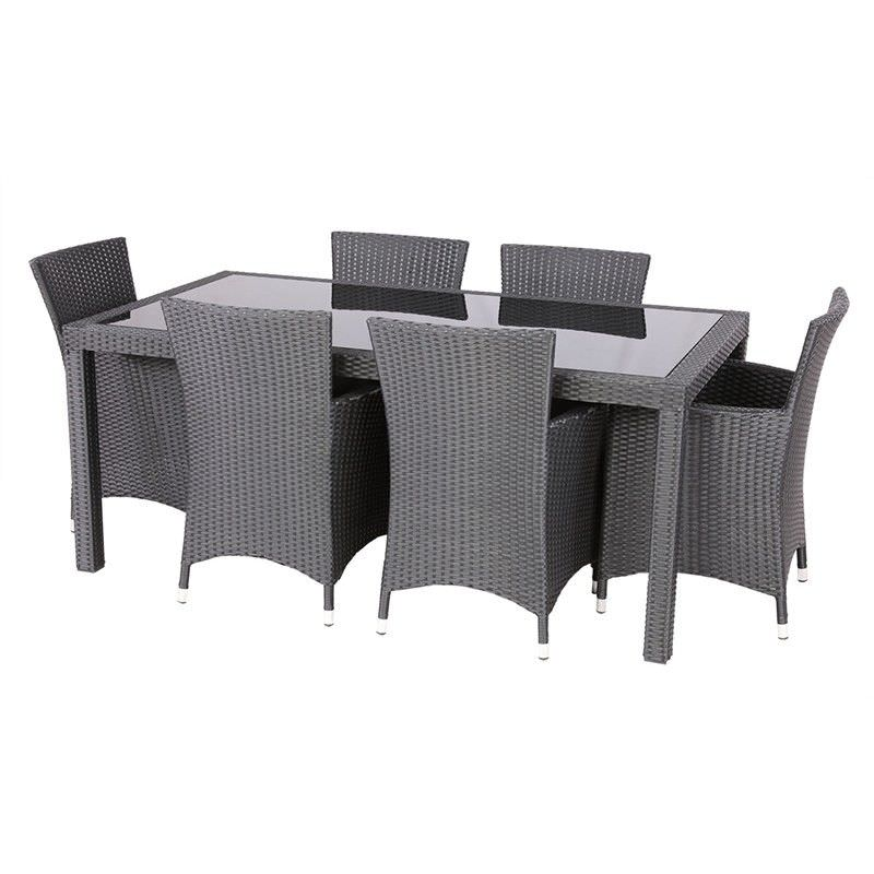 Cooma 7 Piece Outdoor Wicker Dining Set - Black/Taupe