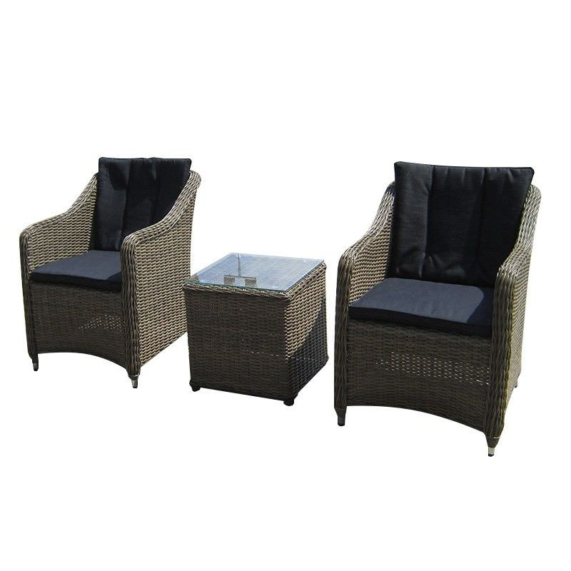 Liverpool 3 Piece Wicker Setting in Natural Nut with Charcoal Cushion