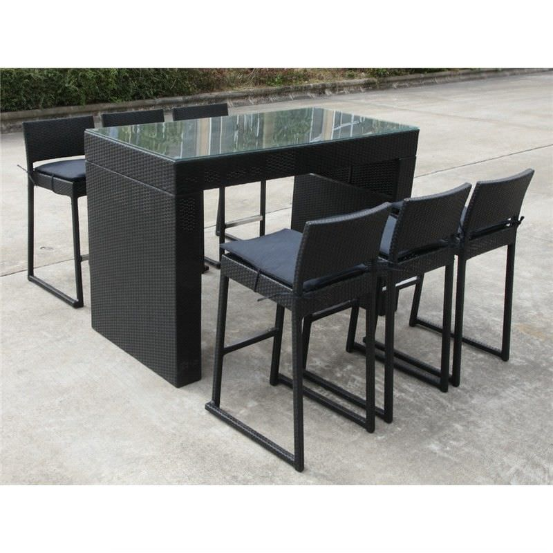 Milan 7 Piece Wicker Bar Setting in Black with Charcoal Cushion