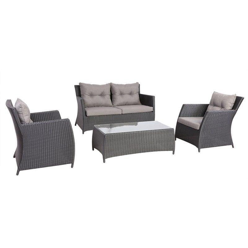Miami 4 Piece Outdoor Wicker Sofa Set - Black/Taupe