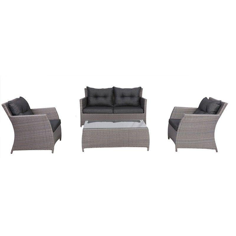 Miami 4 Piece Outdoor Wicker Sofa Set - Grey/Charcoal